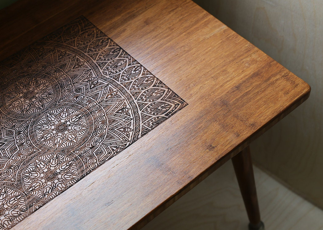 engraved walnut coffee table modern wood furniture