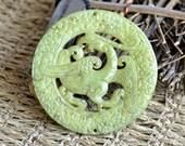 Double Side face carved dragon phoenix Chinese jade Flower Long Life Card pendant Bead Gemstsone,jade pendant findings