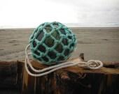 "Norwegian Glass Fishing Float ~ 5"" Diameter, Dark Green, Original Net"