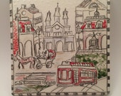 New Orleans Street Scene Themed Hand Sketched 6 by 6 inch Ceramic Tile