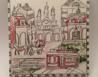 New Orleans Street Scene Themed Sketched Style 6 by 6 inch Ceramic Tile