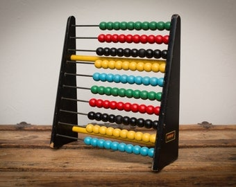 Retro Brio Wooden Abacus, Multicolored Beads, Math Counting, Vintage 60s