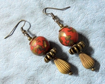 Brass and Red Corrugated Steampunk Drop Earrings (3091)