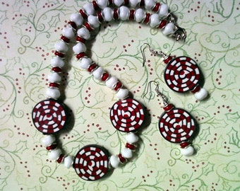 Red and White Peppermint Swirl Necklace and Earrings (1555)