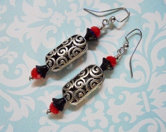 Silver, Red and Blue Earrings (2364)