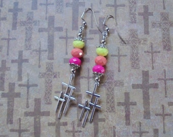 Bright Yellow, Coral and Pink Cross Earrings (2470)