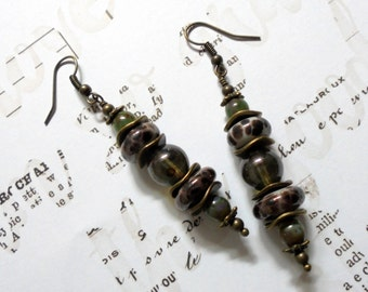 Mossy Green and Brown Spotted Earrings (2573)