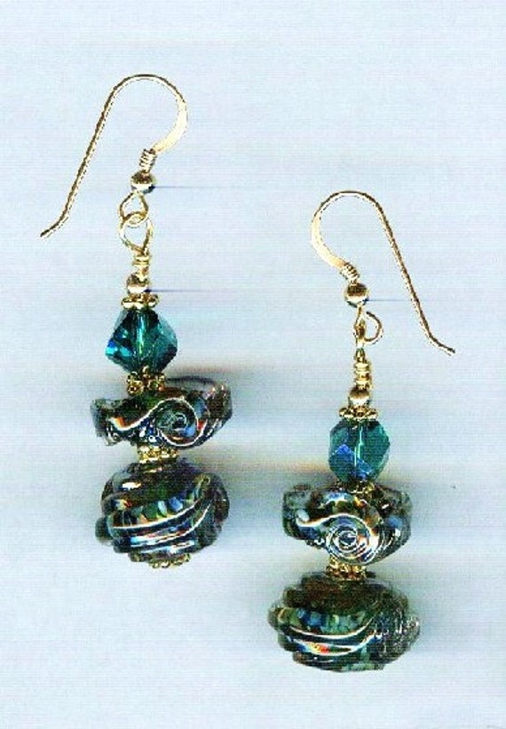 Celine Dark Aqua Sea Opal Metallic Borosilicate Signature Design Whirlwind Lampwork One of a Kind Earrings!