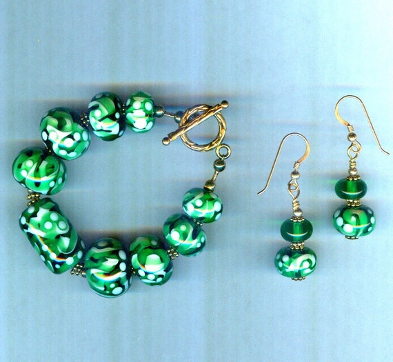 Emerald Green and White Handmade Lampwork One of a Kind SET!
