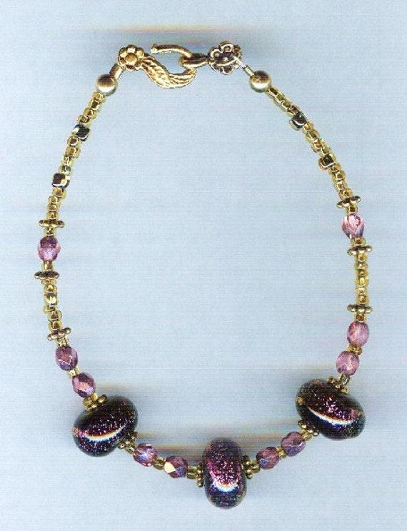 Handmade Purple Foil Lampwork One of a Kind Bracelet!