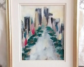Original Cityscape Acrylic painting   Abstract Fine Art Modern Contemporary Art   Green Gray Yellow Black Red Teal