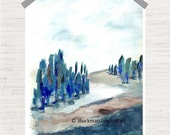 Landscape Abstract Fine Art Giclee Print from original Acrylic painting  Navy Indigo Blue Tan Brown Green 