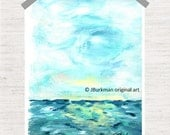 Abstract Fine Art Giclee Print from original Acrylic painting 'Survival'  Turquoise Teal light blue white yellow 