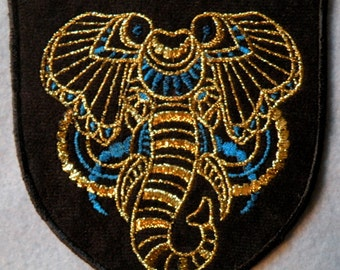 Gilded Elephant Iron on Patch 4.55 inch