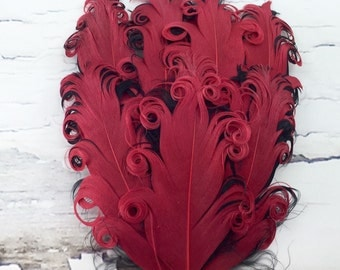 One Curly Nagorie Feather Pad, Feather Pad, Bridal Feather, Curly Feather Pad, Red with Black