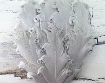 One Curly Nagorie Feather Pad, Feather Pad, Bridal Feather, Curly Feather Pad, Silver