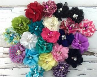 "22 Flowers as shown, Grab Bag, Phoebe Flower, Chiffon Pearl Rhinestone Flower, 22 Mixed 2"" and 2.25"" Flowers"