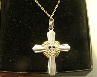 """Gorgeous Cross / Pendant Necklace Set - Two Tone Gold & Sterling Silver - 18"""""""