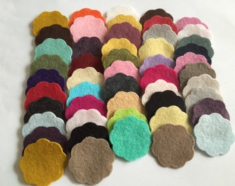 "Wool Felt Scallops 50 total - 1 1/8"" Random Colored. 3171"