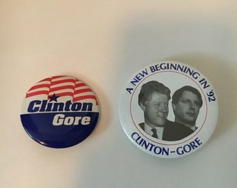 1992 Clinton/Gore presidential election campaign buttons
