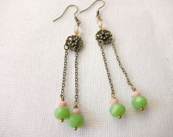 Long drop traditional Chinese style earrings - Apple Blossom