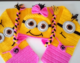 Minion Girl Hat and Scarf Set-Crochet  Minion scarf and hat