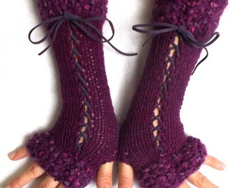 Fingerless Gloves Purple Pink Violet Tones Long Corset  Arm Warmers Women Accessory