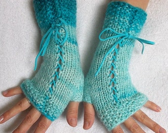 Fingerless Gloves, Corset Arm Warmers Handknit in Turquoise/ Blue Victorian Style