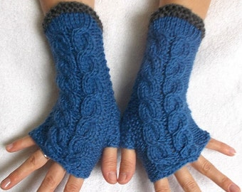 Fingerless Gloves Cabled Warm Wrist Warmers Blue Grey Women Winter Accessory