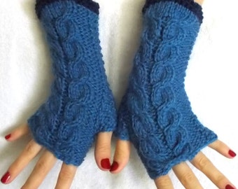 Blue Fingerless Gloves Cabled Warm Wrist Warmers Women Winter Accessory
