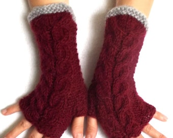 Burgundy Cabled Fingerless Gloves Warm Wrist Warmers Dark red Grey Fingerless Mittens