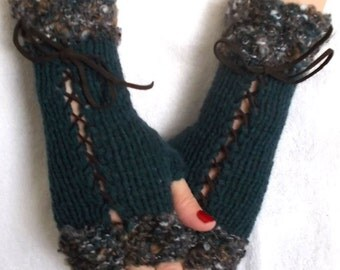 Fingerless Gloves Hand knitted Corset Wrist Warmers Dark Teal Green with Suede Ribbons Victorian Style