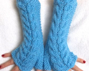 Light Blue Fingerless Gloves Arm Warmers Chunky  Cabled Extra Warm Mohair Acrylic
