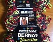 Lot of Three Bernat Fleurettes Yarn 100 gr Skeins  - Color Chili Pepper -  Plus Free Pattern