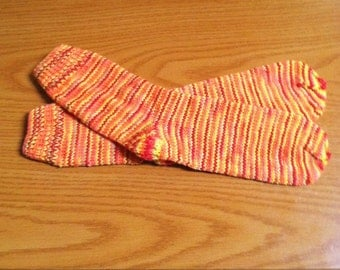 Hand Knit Soft And Warm  Women's  Superwash Merino Wool Socks, Size 8 - 8.5  (9.5 inches length)
