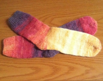 Hand Knit Soft And Warm Women's Acrylic/Mohair/Wool  Socks, Size  9.5  -  10   (10 inches length) - Fall Colors
