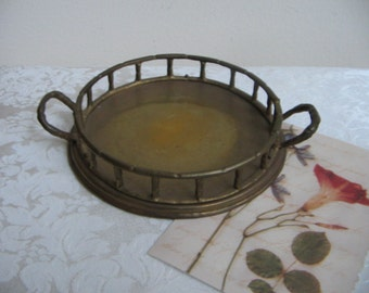 Vintage Brass Tray Round Faux Bamboo With Handles, Small Bohemian Serving Tray