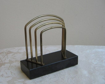 Vintage Black Marble Letter Mail Holder With Gold Metal Arches, Art Deco Organizer