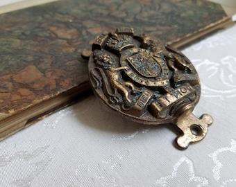 Vintage Brass Door Knocker Made In England 1953, Crown Crest Shield Lion Unicorn, Commemorative Queen Elizabeth II Coronation