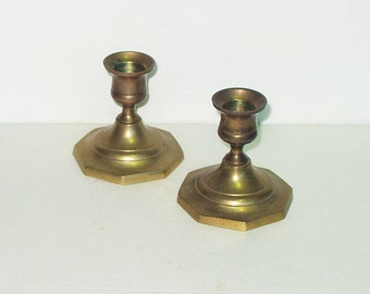 Vintage Brass Candle Holders Candlestick Candle Stick Marked Soundry Collection India Solid Brass Retro 70s 80s Home Decor