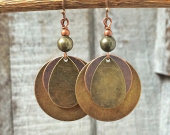 Mixed metal earrings, boho dangle earrings, geometric earrings, geometric jewelry, boho jewelry, bohemian earrings, mixed metal jewelry