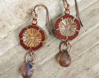 Burnt Orange Boho Flower Earrings, Jewelry, Red Orange Jewelry