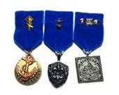 Steampunk Cosplay Medal // Custom SINGLE CHARM Medallion // Royal Purple Velvet Ribbon // Optional Studding