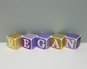 Purple and Gold Baby Name Blocks, Personalized Baby Shower Gift