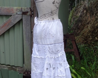 "shades of white lace skirt, vintage embroideries, mex, hippy, bohemian country, up to 40"" waist / large +"