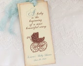 Boy Storybook Favors Bookmarks Blue Baby Shower Carriage Pram Set of 10