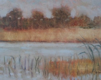 Original Plein Air Oil Painting Marsh
