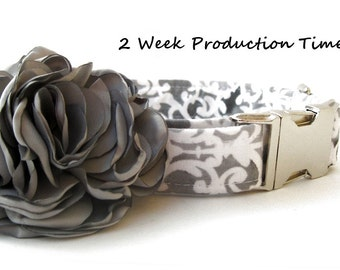 Wedding Dog Collar with Flower Accessory - Grey and White Lattice