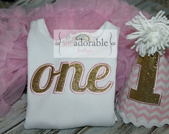 Pink and Gold ONE First Birthday Outfit, Appliqued ONE Shirt or Bodysuit, Smash Cake Outfit for Girls