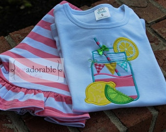 Personalized Mason Jar Lemonade Appliqued Shirt. FREE MONOGRAMMING. Summer Outfit for Girls.